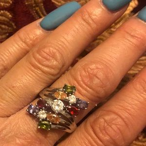 Sterling silver ring with color stones. Size 7-7.5